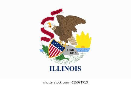llinois State Flag. Vector illustration.