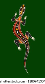 Llizard. Aboriginal art style. Vector color illustration isolated on green background.