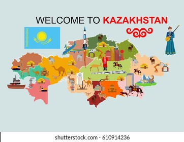lllustration of Kazakhstan map showing its great culture and  with  historical monument, nature, modern buildings dance and more