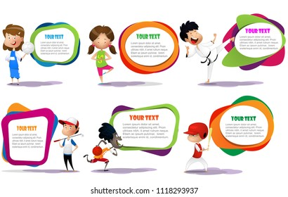 lllustration of kids engaging in different sports activities such golf, baseball, yoga, volleyball, martial arts, basketball. Vector
