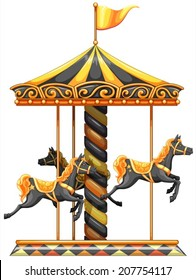 lllustration of a merry-go-round ride on a white background