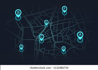 llocation on street map blue color.vector illustration