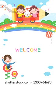 llustration of cartoon kindergarten. Cute frame with kids, child and frame