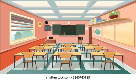 llustration of a classroom without people stylized design. Globe, tables, chairs, books for students. Cartoon style