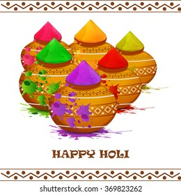 llustration of colorful gulal colors powder filled with mud pot for Happy Holi.