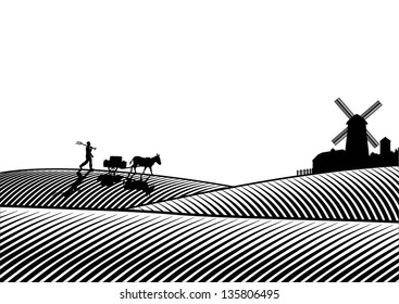 llustration of farmer and donkey with cart walking vector