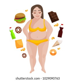 llustration of a fat young woman in a swimsuit. The concept of proper nutrition. Fast food and fatty foods.