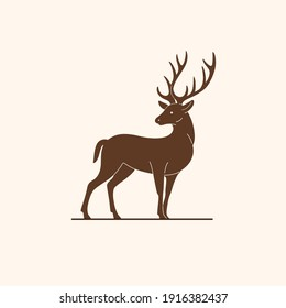 llustration of northern reindeer. Simple contour vector illustration for emblem, badge, insignia.
