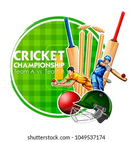 llustration of Player bat, ball and helmet on cricket sports background