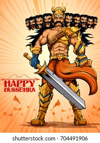 Llustration Of Raavana With Ten Heads For Dussehra Navratri Festival India Poster