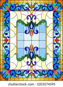 llustration in stained glass style with abstract  swirls,flowers and leaves  on a light background,vertical orientation