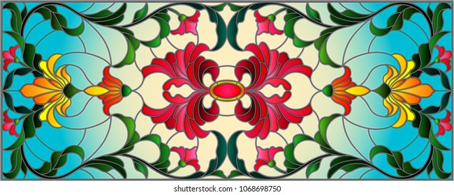 llustration in stained glass style with abstract  swirls,flowers and leaves  on a light background,horizontal orientation