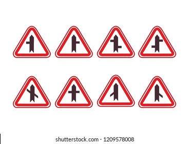 llustration of Triangle Warning Sign. Crossroads Warning Main Road Sign. Crossroads Sign. Warning signs. traffic training.  traffic rules. Traffic signs. road signs