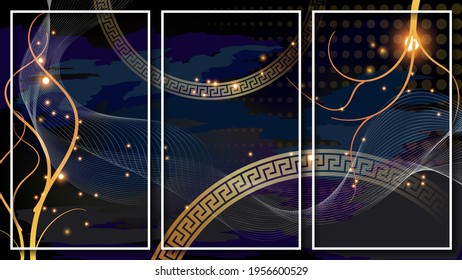 lluxurious dark art triptych of three images in thin white frames. overlapping translucent shapes, lights, flowing curved stripes, intertwining lines, gold rings with ancient Greek ornament. vector