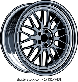 LM car wheel rim vector illustration