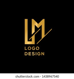 LM gold letter logo template vector