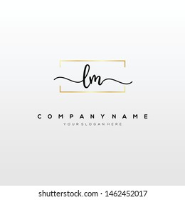 LM handwriting initial logo template vector.