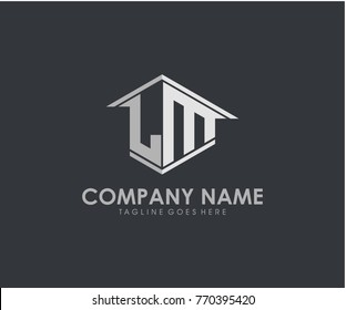 LM initial construction.real estate.home letter logo design