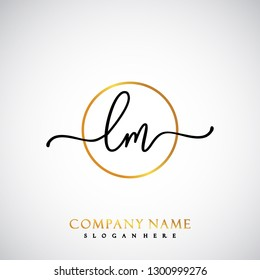 LM Initial Handwriting logo template vector