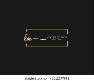 LM Initial handwriting logo vector. Hand lettering for designs.