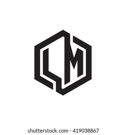 LM initial letters looping linked hexagon monogram logo