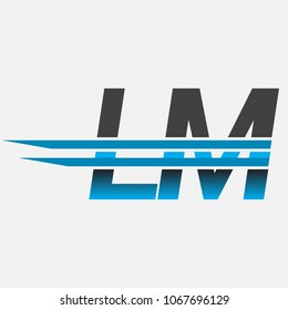 LM initial logo company name colored black and blue, Simple and Modern Logo Design.