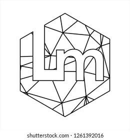 Lm initials geometric polygonal logo