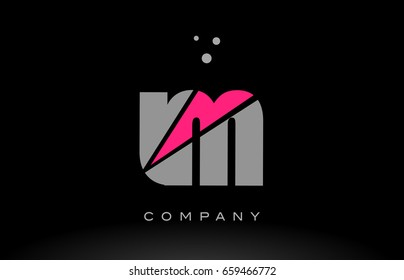 lm l m alphabet letter logo pink grey black creative company vector icon design template