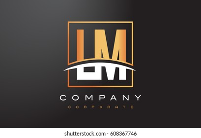 LM L M Golden Letter Logo Design with Swoosh and Rectangle Square Box Vector Design.