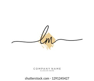 LM L M Initial handwriting logo template