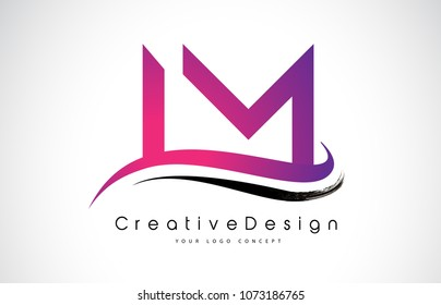 LM L M Letter Logo Design in Black Colors. Creative Modern Letters Vector Icon Logo Illustration.