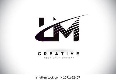 LM L M Letter Logo Design with Swoosh and Black Lines. Modern Creative zebra lines Letters Vector Logo