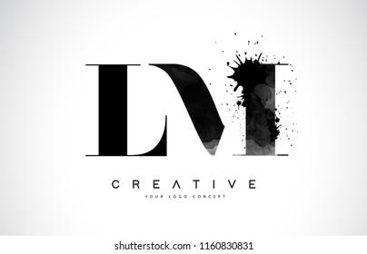 LM L M Letter Logo Design with Black Ink Watercolor Splash Spill Vector Illustration.