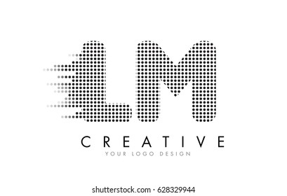 LM L M Letter Logo Design with Black Dots and Bubble Trails.