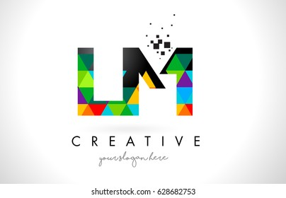 LM L M Letter Logo with Colorful Vivid Triangles Texture Design Vector Illustration.