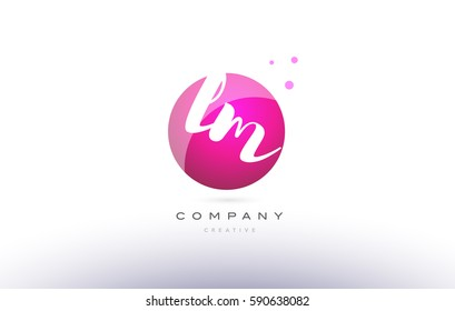lm l m  sphere pink 3d alphabet company letter combination logo hand writting written design vector icon template