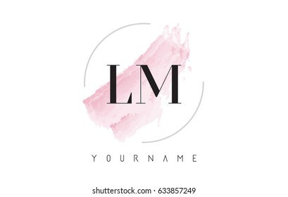 LM L M Watercolor Letter Logo Design with Circular Shape and Pastel Pink Brush.