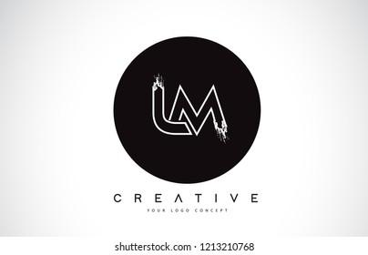 LM Modern Leter Logo Design with Black and White Monogram. Creative Letter Logo Brush Monogram Vector Design.