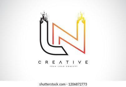 LN Creative Modern Logo Design Vetor with Orange and Black Colors. Monogram Stroke Letter Design.