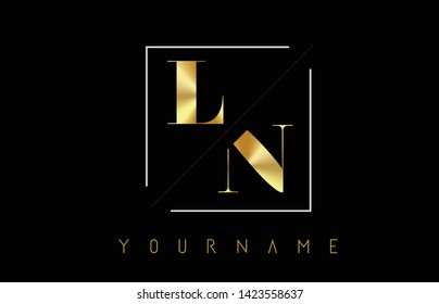 LN Golden Letter Logo with Cutted and Intersected Design and Square Frame Vector Illustration