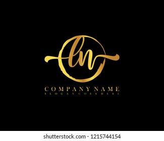 LN initial handwriting logo circle template vector