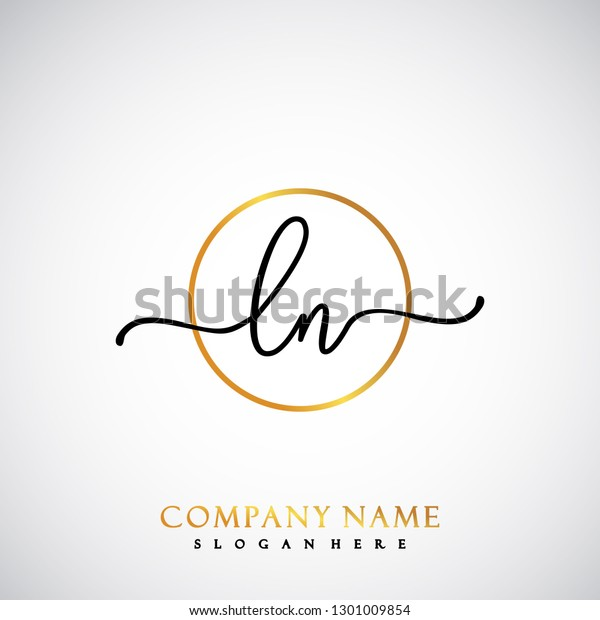 Business Card Template With Beauty Concept: Ln Initial Handwriting Logo Template Vector Stock Vector