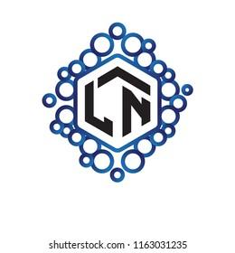 LN Initial letter hexagonal logo vector