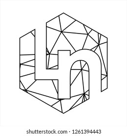 Ln initials geometric polygonal logo
