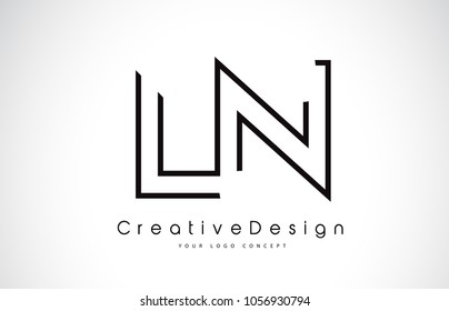 LN L N Letter Logo Design in Black Colors. Creative Modern Letters Vector Icon Logo Illustration.