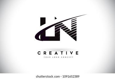 LN L N Letter Logo Design with Swoosh and Black Lines. Modern Creative zebra lines Letters Vector Logo
