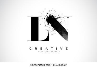 LN L N Letter Logo Design with Black Ink Watercolor Splash Spill Vector Illustration.