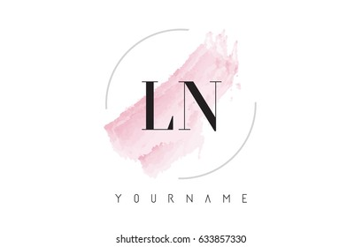 LN L N Watercolor Letter Logo Design with Circular Shape and Pastel Pink Brush.