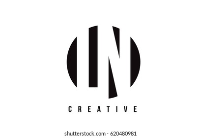 LN L N White Letter Logo Design with Circle Background Vector Illustration Template.