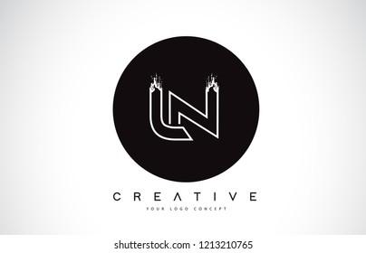 LN Modern Leter Logo Design with Black and White Monogram. Creative Letter Logo Brush Monogram Vector Design.